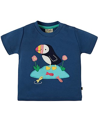 Frugi Little Creature Applique Top, Marine Blue/Puffin - 100% organic cotton Evening Tops