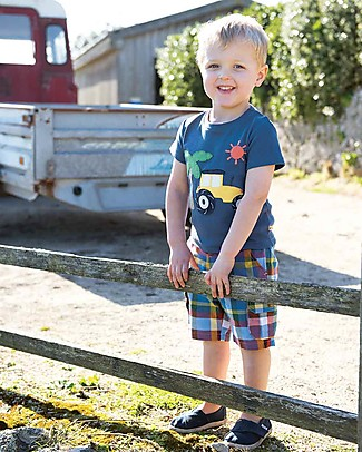Frugi Little Creature Applique Top, Marine Blue/Tractor - 100% organic cotton T-Shirts And Vests