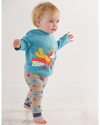 Frugi Little Discovery Applique Top, Aqua/Fox - 100% organic cotton Long Sleeves Tops