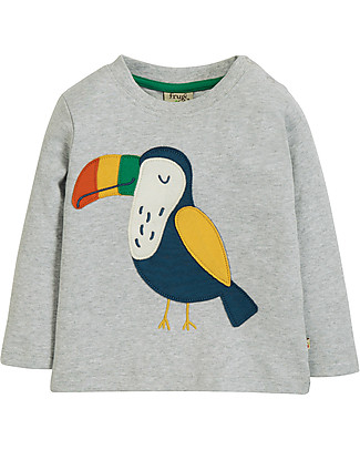 Frugi Little Discovery Applique Top, Grey Marl/Toucan - 100% organic cotton Long Sleeves Tops