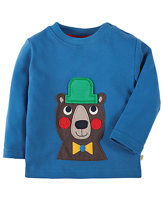 Frugi Little Discovery Applique Top, Sail Blue/Bear - 100% organic cotton Evening Tops