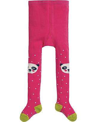 Frugi Little Fun Knee Tights, Flamingo Spot/Panda - Organic cotton Tights