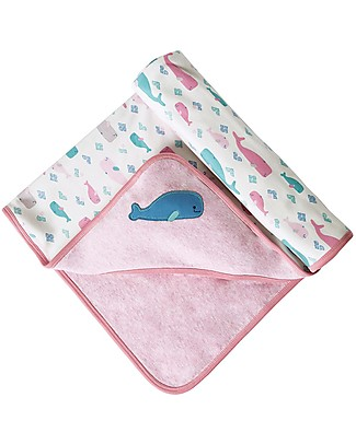 Frugi Little Hug Hooded Blanket, Little Whale - 100% Organic Cotton Blankets
