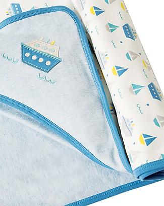 Frugi Little Hug Hooded Blanket, Summer Seas - 100% Organic Cotton Blankets