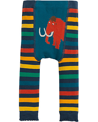 Frugi Little Knitted Leggings, Mammoth/Rainbow Stripe - 100% organic cotton (soft and non-scratchy) Leggings