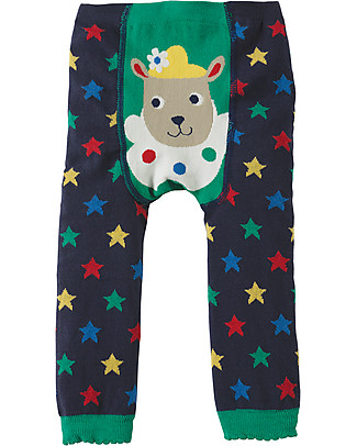 Frugi Little Knitted Leggings, Navy Stars/Sheep - 100% organic cotton (soft and non-scratchy) Leggings
