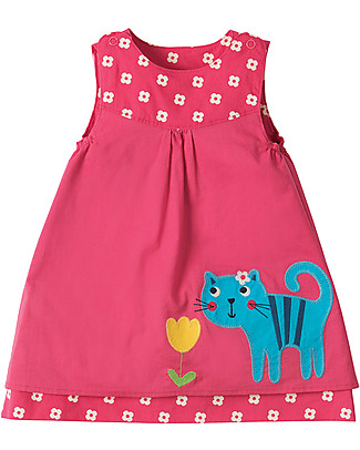 Frugi Little Lamorna Reversible Dress, Raspberry Bud/Cat - 100% organic cotton Dresses