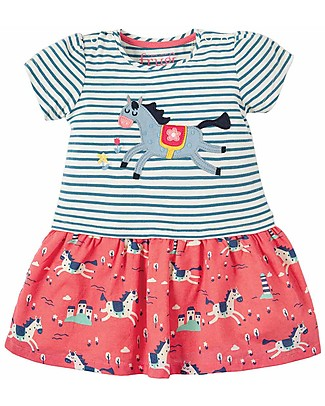 Frugi Little Laura Dress - Lyonesse Legend/Horse - 100% Organic Cotton Dresses