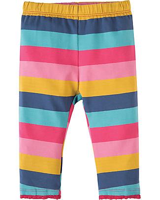 Frugi Little Libby Leggings, Dolly Rainbow Stripe - Elasticated organic cotton Leggings