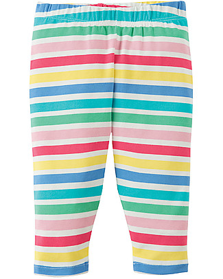 Frugi Little Libby Leggings, Dolly Rainbow Stripe - Elasticated organic cotton Leggings