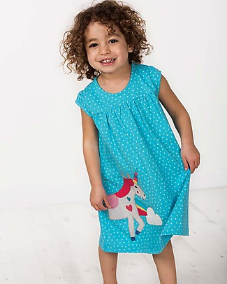 Frugi Little Lola Dress - Turquoise Spot/Unicorn - 100% Organic Cotton! Dresses