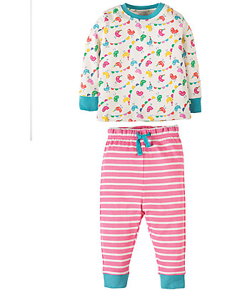 Frugi Little Long John PJs, Circus Birdies - 100% organic cotton Pyjamas
