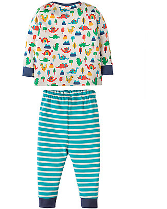 Frugi Little Long John PJs, Dino Days - 100% organic cotton Pyjamas