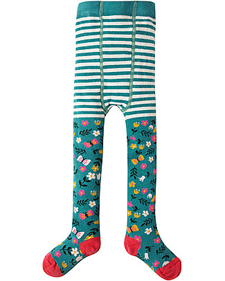 Frugi Little Norah Tights, Alpine Meadow - Organic Cotton (soft, cosy and non-scratchy) Tights