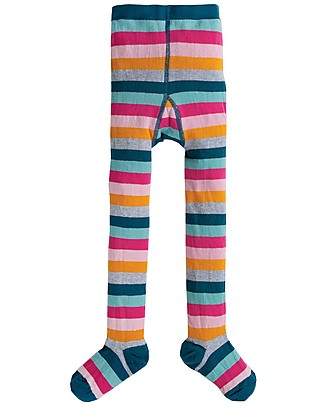 Frugi Little Norah Tights, Cosmic Stripe - Organic Cotton (soft, cosy and non-scratchy) Tights