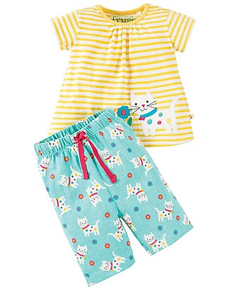 Frugi Little Peony Pyjamas, 2 pieces - Daisy Kitten/Cat - Organic cotton Pyjamas
