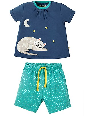 Frugi Little Peony Pyjamas, 2 pieces - Marine Blue/Cat - Organic cotton Pyjamas