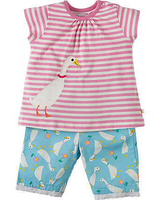 Frugi Little Peony Summer Pyjamas, Ducky Dash - 100% organic cotton Pyjamas