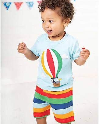 Frugi Little Perran PyJamas, 2 pieces - Tidal Blue/Hot Air Balloon - Organic Cotton Pyjamas