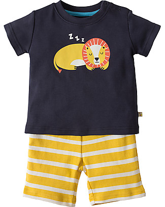Frugi Little Perran Summer PJs, Navy/Lion - 100% Organic Cotton Pyjamas