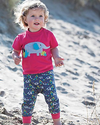 Frugi Little Polkerris Applique T-shirt - Raspberry/Ellie - 100% organic cotton T-Shirts And Vests