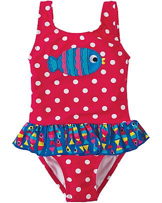 Frugi Little Sally Swimsuit, Raspberry/Fish - UPF 50+! Swimsuits