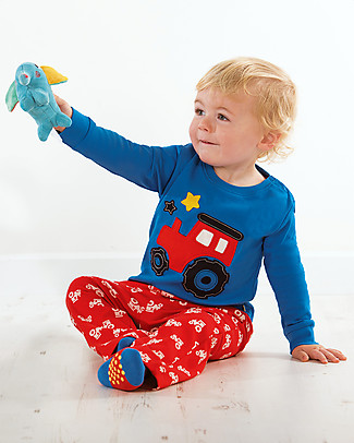 Frugi Little Snooze Pyjamas, Sail Blue/Chug Chug - 100% organic cotton Pyjamas