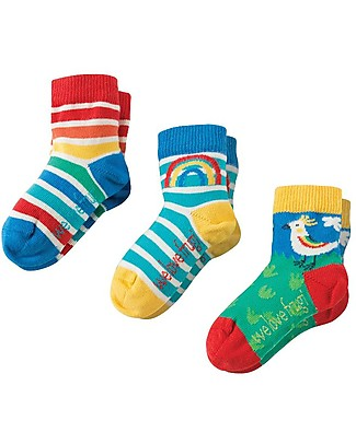 Frugi Little Socks 3 Pack, Bird Multipack - Elasticated Cotton Socks