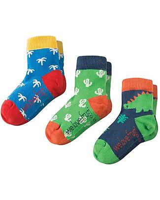 Frugi Little Socks 3 Pack, Dino Multipack - Elasticated Cotton Socks