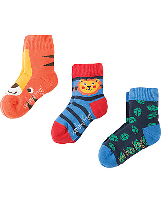 Frugi Little Socks 3 Pack, Little Tigers - Organic Cotton Socks