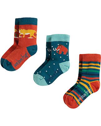 Frugi Little Socks 3 Pack, Prehistoric - Elasticated Organic Cotton Socks