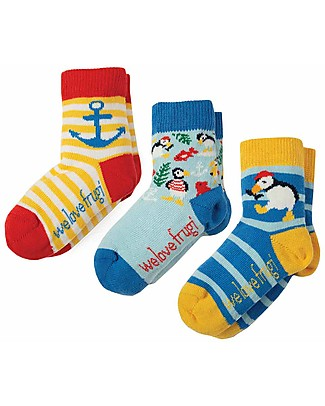 Frugi Little Socks 3 Pack, Puffin Multipack - Elasticated cotton Socks