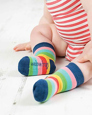 Frugi Little Socks 3 Pack, Rainbow - Elasticated Organic Cotton Socks