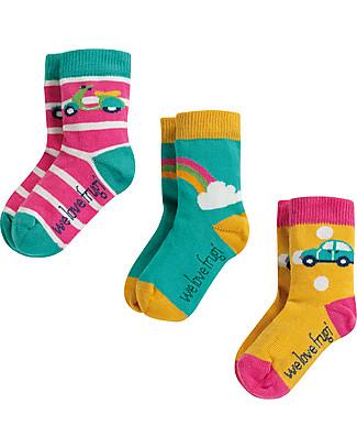 Frugi Little Socks 3 Pack, Rainbow - Elasticated Organic Cotton Socks