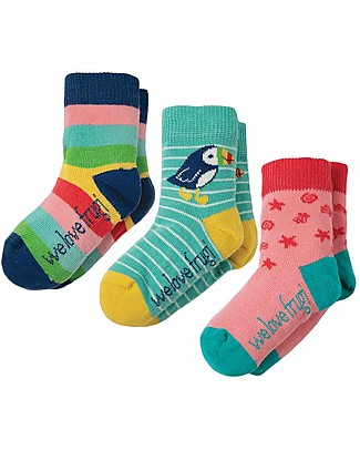 Frugi Little Socks 3 Pack, Rainbow - Organic cotton Socks