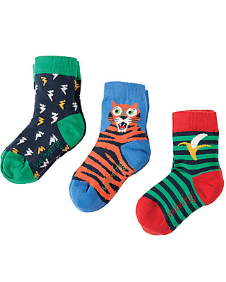 Frugi Little Socks 3 Pack, Tiger - Organic Cotton Socks