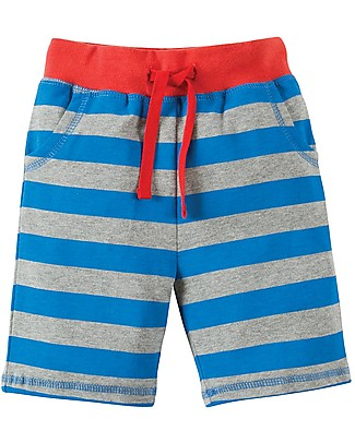 Frugi Little Stripy Shorts, Blue and Grey Stripes/Monkey Shorts