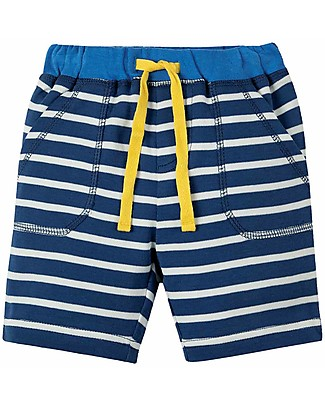 Frugi Little Stripy Shorts, Marine Blue Breton - 100% Organic Cotton Shorts