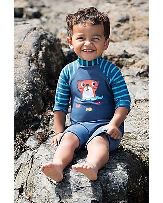 Frugi Little Sun Safe Suit, Navy/Hotter - Maximum Sun Protection! Uv-Safe Sunsuits