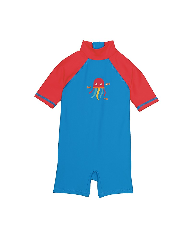 790bad36ff Frugi Little Sun Safe Swimsuit, Blue with Jellyfish - Sun protection UPF  50+ Swimming