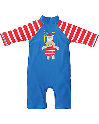 Frugi Little Sun Safe Swimsuit, Sail Blue/Hippo - Sun protection SPF 50+! Rompers