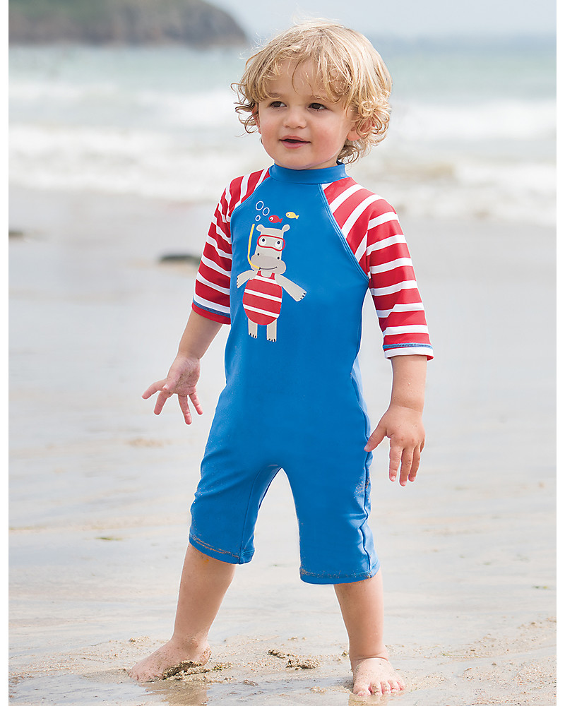 09222be8ff Frugi Little Sun Safe Swimsuit, Sail Blue/Hippo - Sun protection SPF 50+