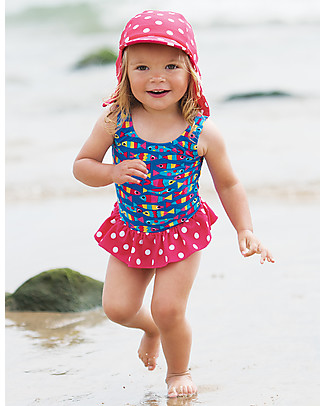 Frugi Little Swim Legionnaires Hat, Raspberry Swim Spot - UPF 50+ Hats