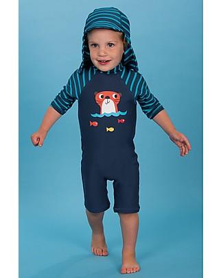Frugi Little Swim Legionnaires Hat, Sea Stripes - UPF 50+ Sunhats