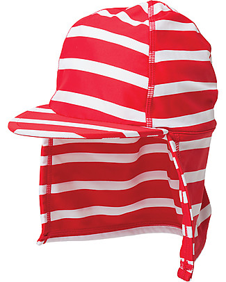 Frugi Little Swim Legionnaires Hat, Tomato Print Stripe - UPF 50+ Hats