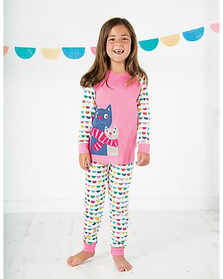 Frugi Lizzie Long John PJs, Petal Pink/Cats - 100% organic cotton Pyjamas