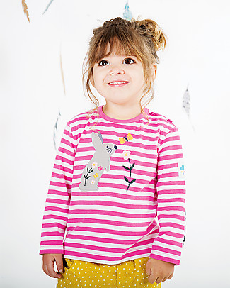 Frugi Long Sleeves Button Applique Top, Flamingo Stripe/Bunny - 100% organic cotton Long Sleeves Tops