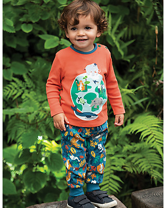 Frugi Long Sleeves Button Applique Top, Paprika/Globe - 100% organic cotton Long Sleeves Tops