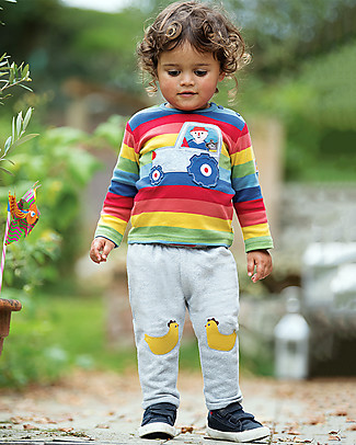Frugi Long Sleeves Button Applique Top, Rainbow Stripe/Tractor - 100% organic cotton Long Sleeves Tops