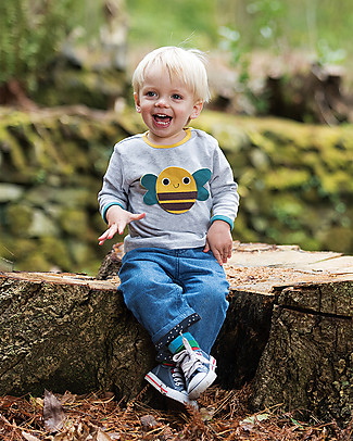 Frugi Long Sleeves Button Off 4 in 1 Applique Top, Farm - 100% organic cotton Long Sleeves Tops